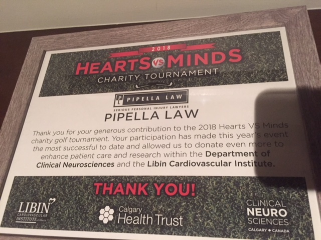Pipella Law - Calgary Personal Injury Lawyers - Hearts vs Minds Golf Tournament 2018